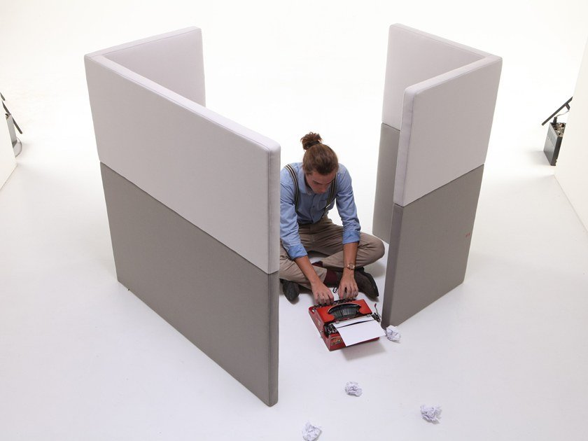 Sound absorbing fabric workstation screen SILENCE-PD/S by Ferrante