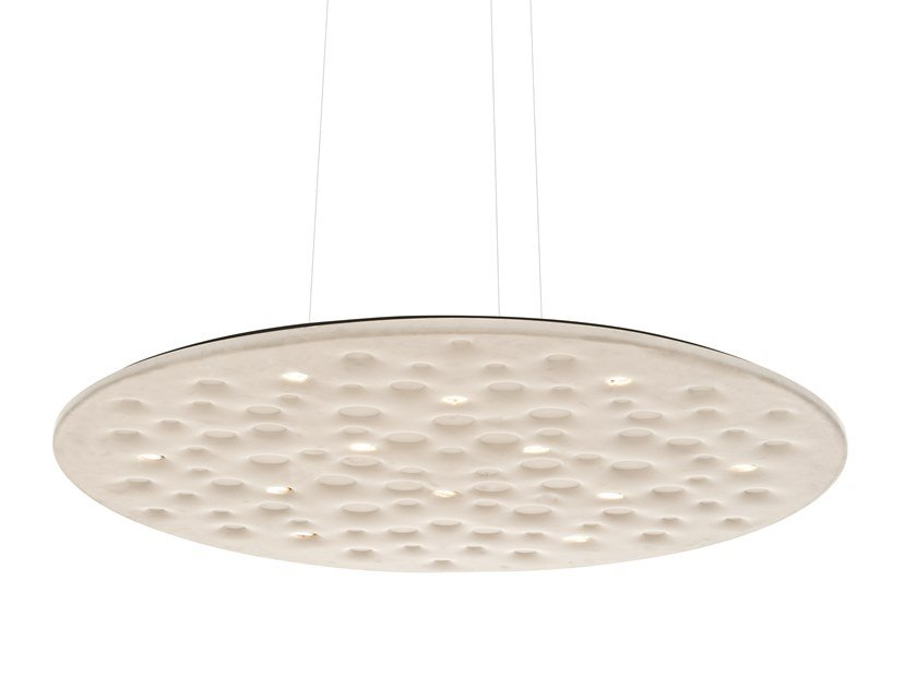 Polyethylene hanging acoustic panel / pendant lamp SILENT FIELD by Artemide