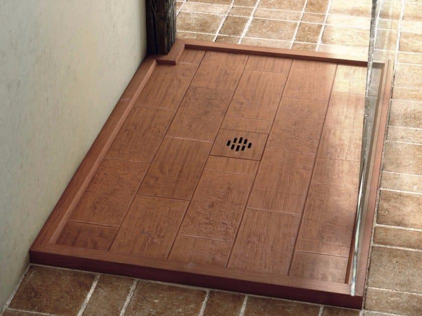 Custom Silexpol® shower tray SILEX RUSTICA FRAMED by Fiora