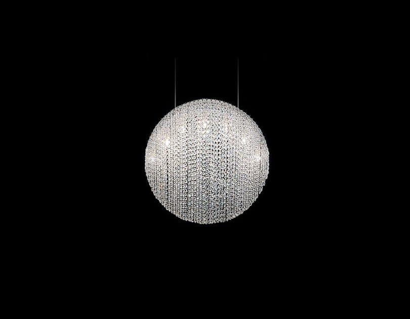 Handmade crystal and steel pendant lamp SILK | Crystal and steel pendant lamp by Manooi