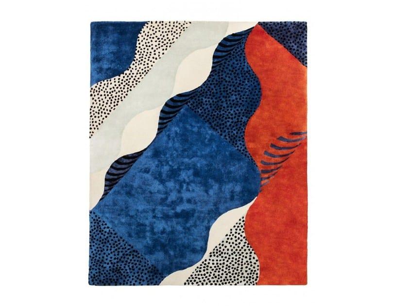 Handmade rectangular rug SILKSCREEN by Moustache