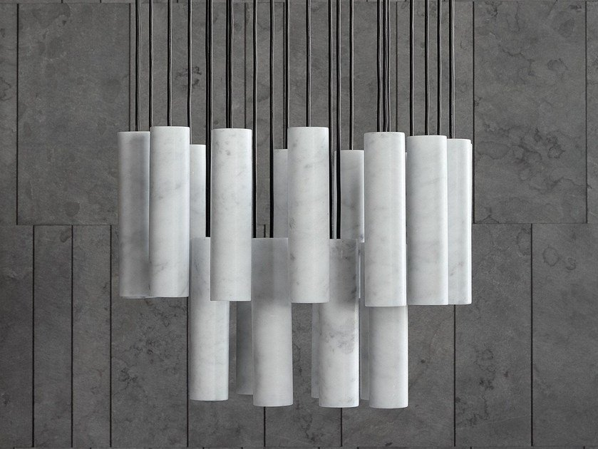 Marble pendant lamp SILO by SALVATORI