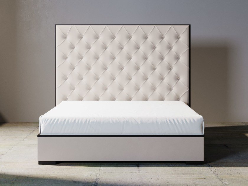 Upholstered Fabric Bed Double Bed With High Headboard SILVER LINE | Bed  With High Headboard By