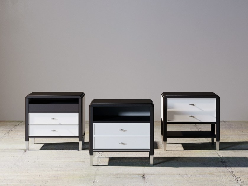 Lacquered rectangular wooden bedside table with drawers SILVER LINE | Bedside table by ITALIANELEMENTS