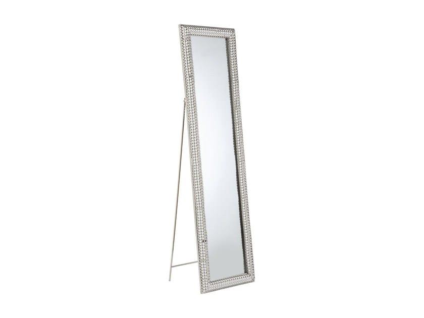 Freestanding rectangular framed mirror SILVER PEARLS 180 x 48 by KARE-DESIGN