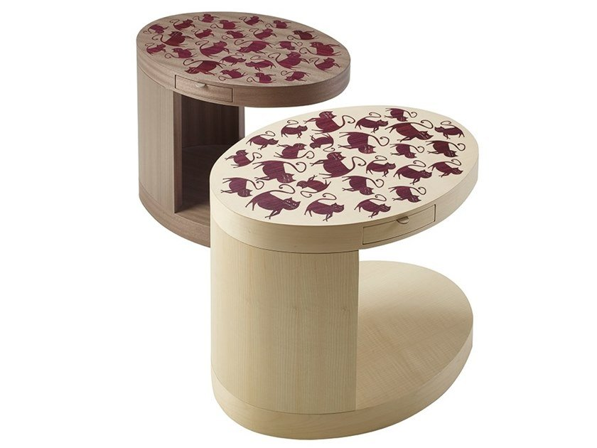 Oval wooden side table SILVESTRO by Promemoria