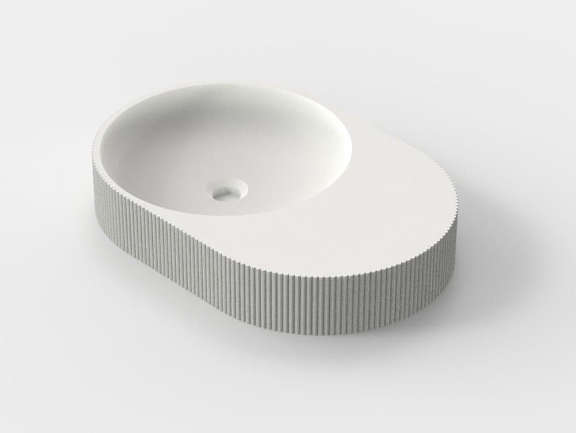 Countertop 3D printed quartz sand washbasin SIMBIOSIS C-01 by Sandhelden