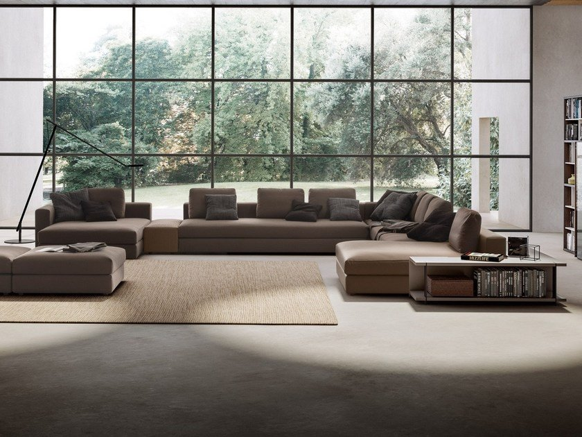 Corner sectional fabric sofa with chaise longue SIMON by JESSE