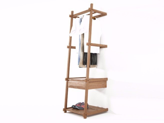 Teak coat rack SIMPLICITY SC04-T by KARPENTER