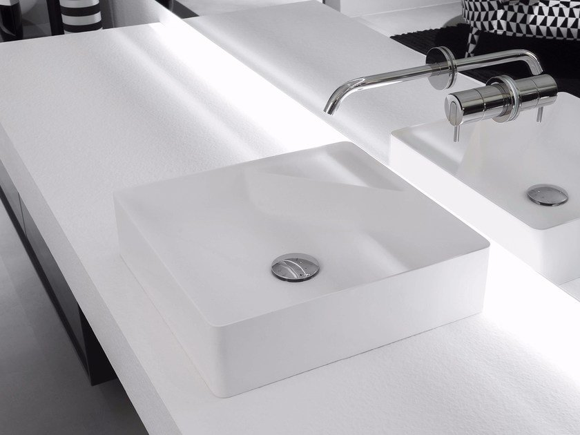 Countertop square Flumood® washbasin SIMPLO | Square washbasin by Antonio Lupi Design
