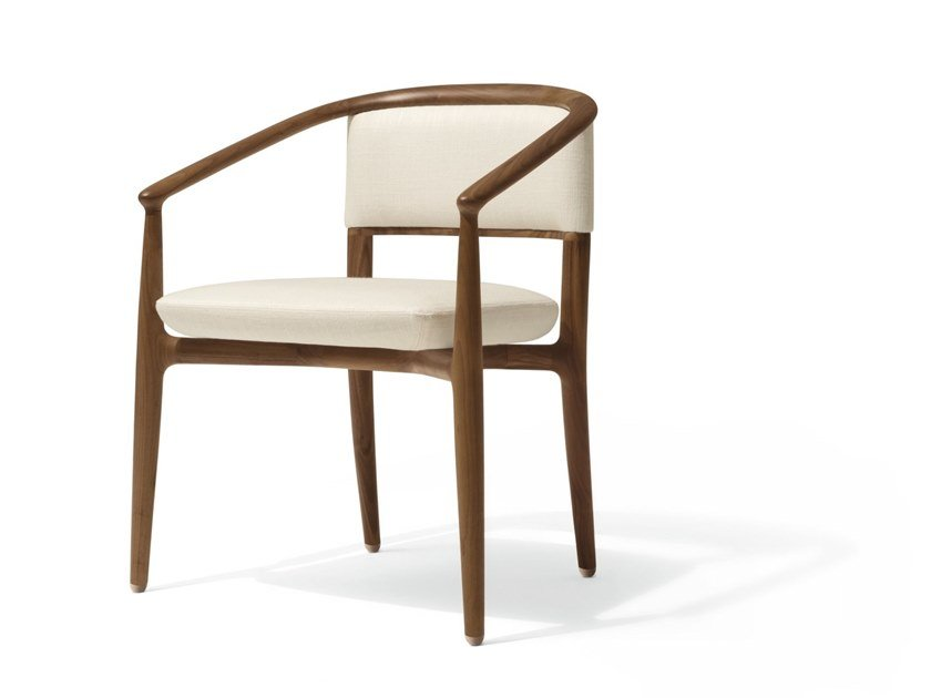 Walnut easy chair with armrests SINBAD by GIORGETTI
