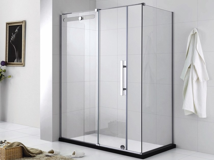 Custom tempered glass shower cabin with sliding door SINGLE by Swiss Concepts