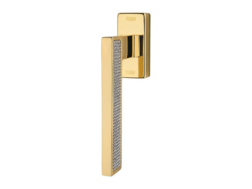Contemporary style anti-intrusion DK window handle with Swarovski® Crystals SINTESI MESH | Anti-intrusion window handle by LINEA CALI'