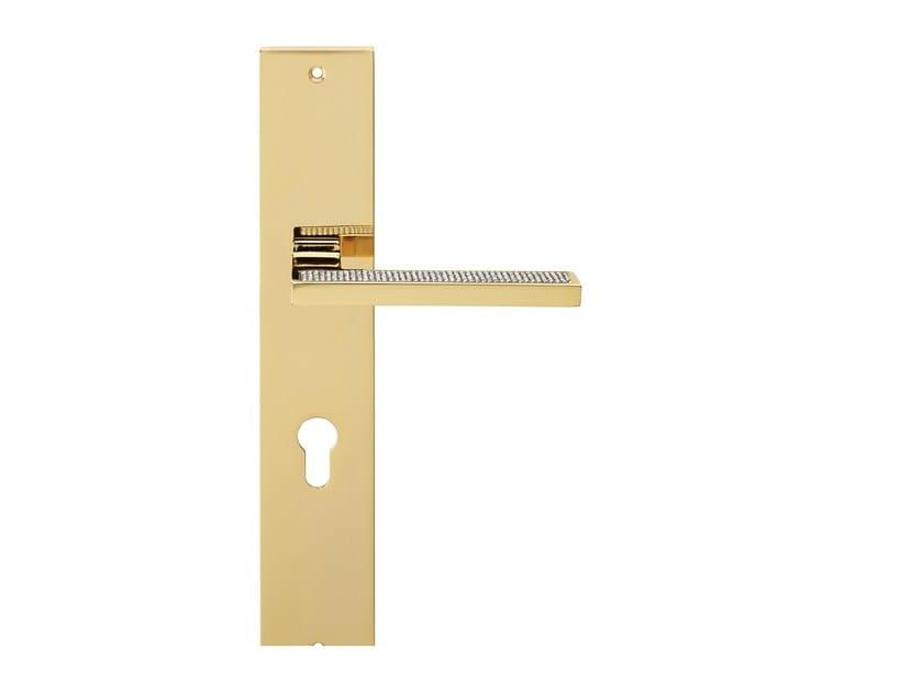 Maniglia in ottone in stile moderno con cristalli Swarovski® su piastra SINTESI MESH | Maniglia su piastra by LINEA CALI'