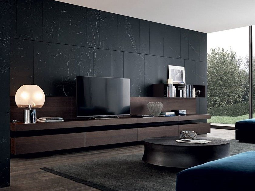 Sectional lacquered TV wall system SINTESI by poliform