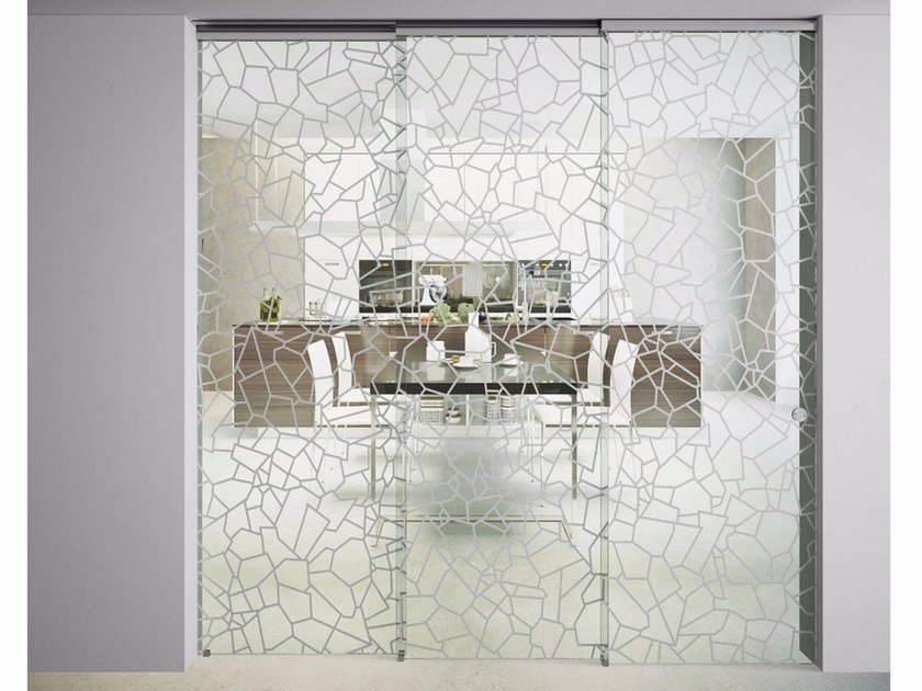 Glass sliding door SINTHESY LIGHT PETRA by FOA