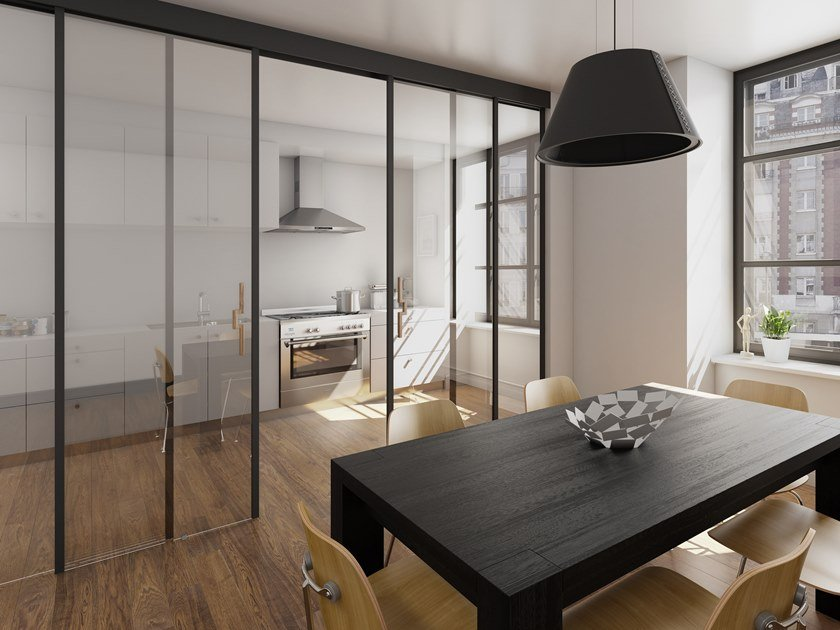 Contemporary style wood and glass sliding door SINTHESY QUADRA TOTAL BLACK by FOA