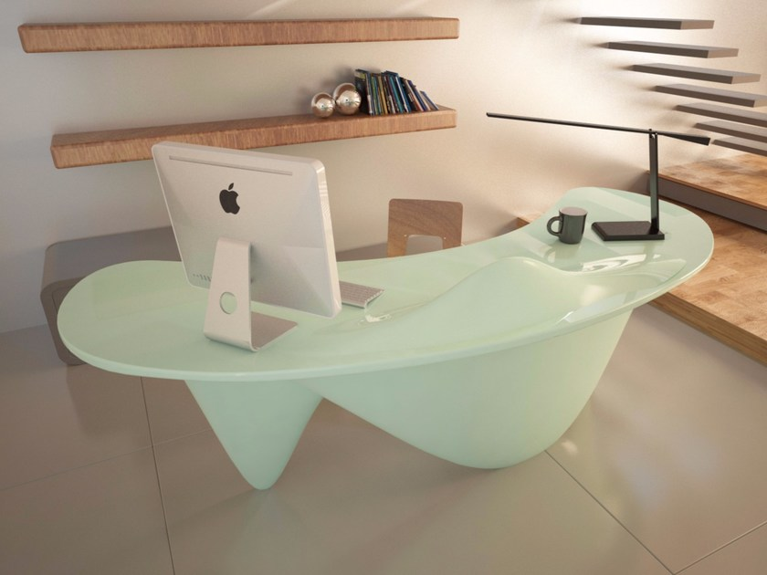 Lacquered Adamantx® office desk SINUOUS by ZAD ITALY