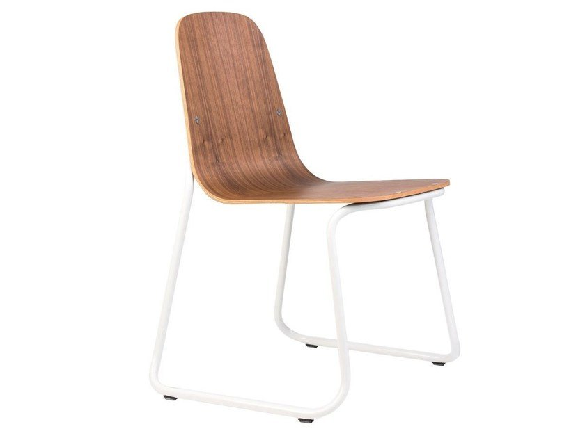 Sled base stackable wooden chair SIREN | Wooden chair by bogaerts label