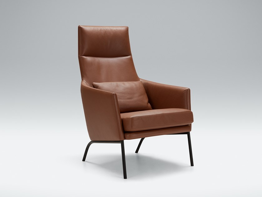Leather armchair with headrest SIRI | Leather armchair by Sits