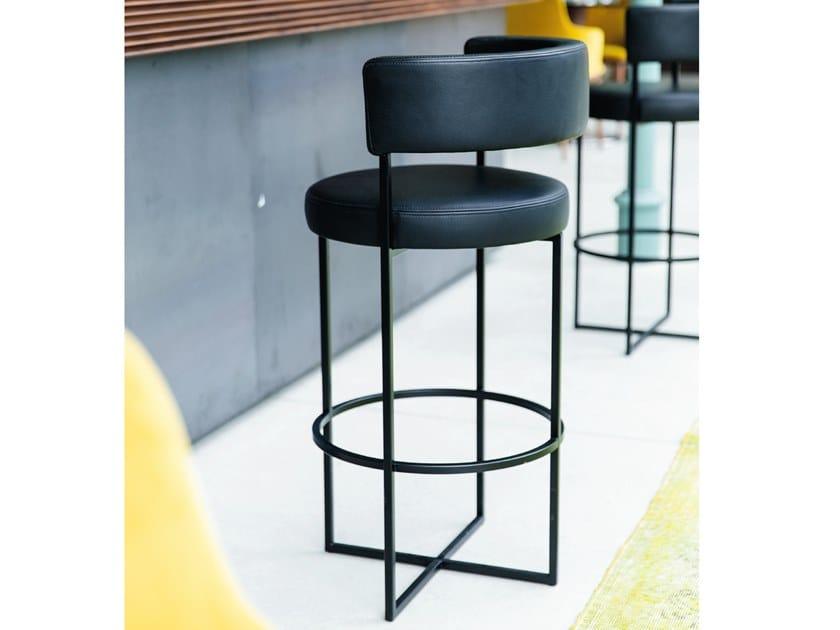 High leather stool and metal frame SIRIO by Porada