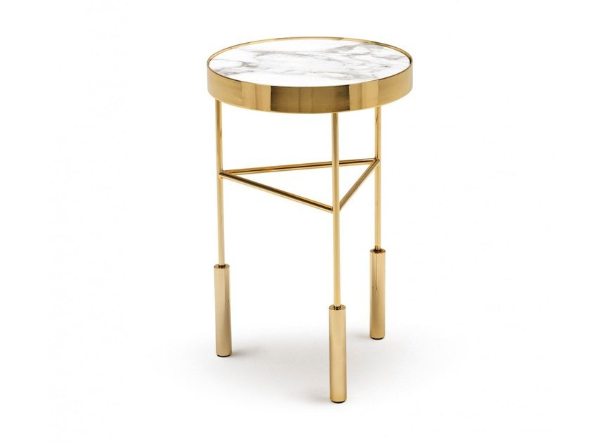 Round marble high side table SIRIUS by MisuraEmme