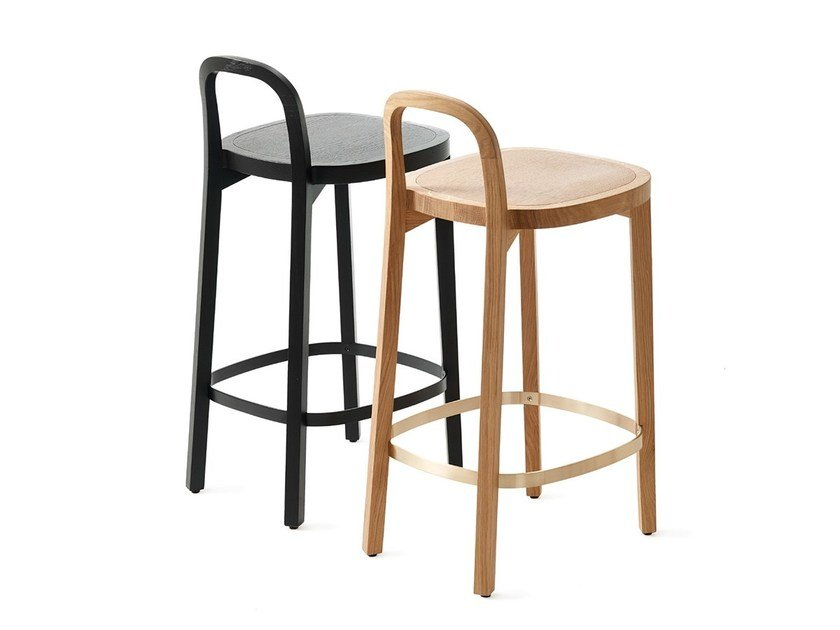 Wooden barstool with footrest SIRO+ | Barstool by Woodnotes
