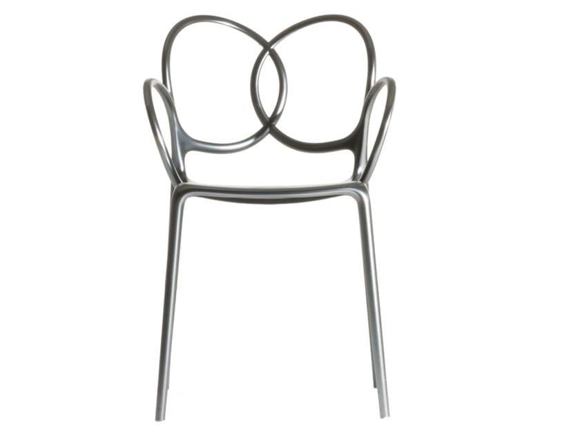 Sedia con braccioli  in polipropilene finitura metallizzata SISSI | Sedia by Driade