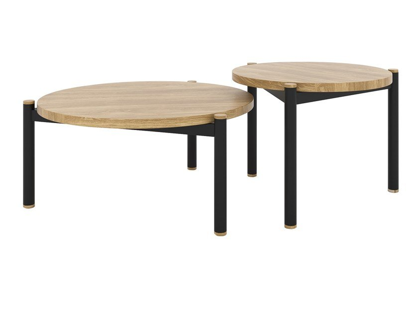 Round steel and wood coffee table SISTERS by take me HOME