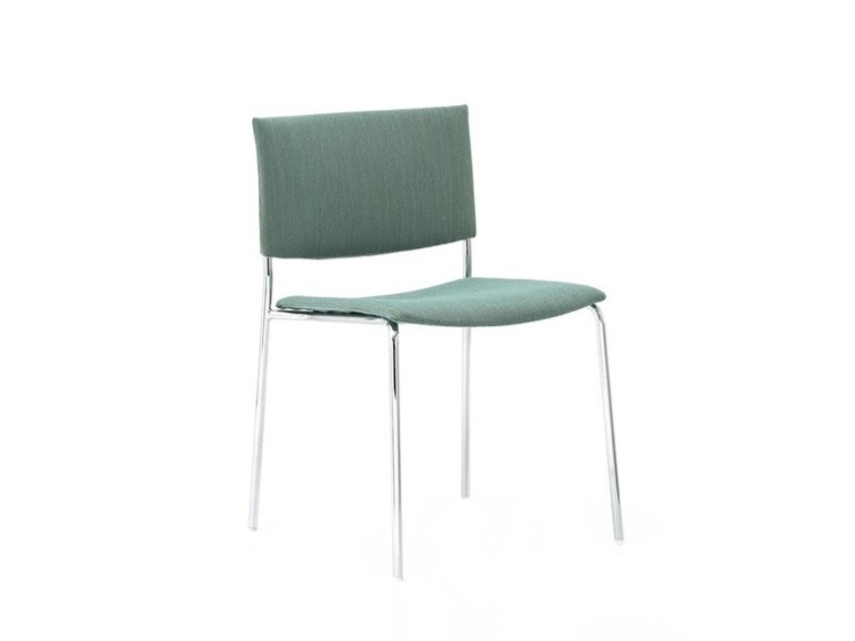 Upholstered stackable open back fabric chair SIT SI1200 | Upholstered chair by Andreu World