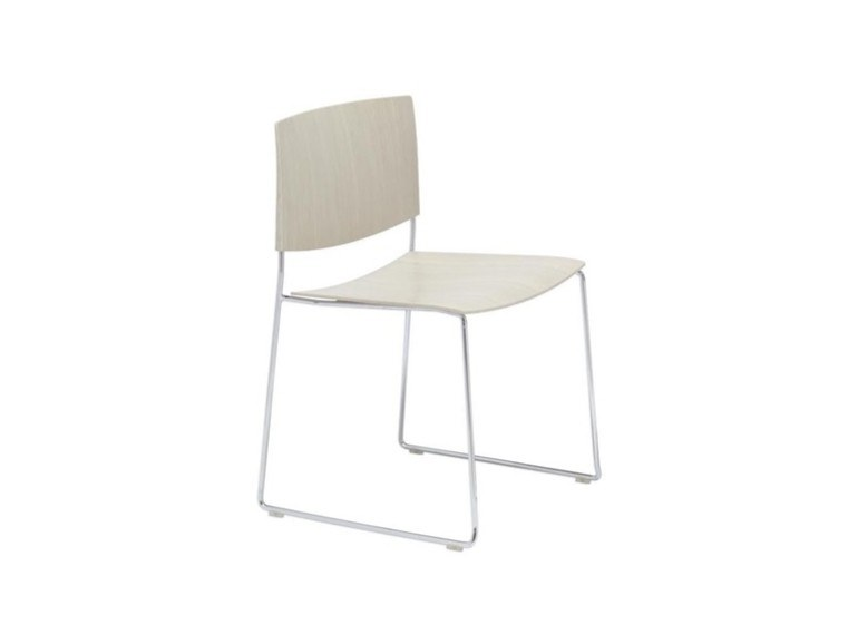 Sled base stackable open back oak chair SIT WOOD SI1207 | Oak chair by Andreu World