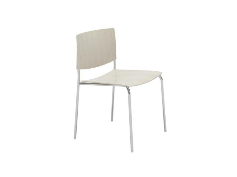 Stackable open back oak chair SIT WOOD SI1206 | Oak chair by Andreu World