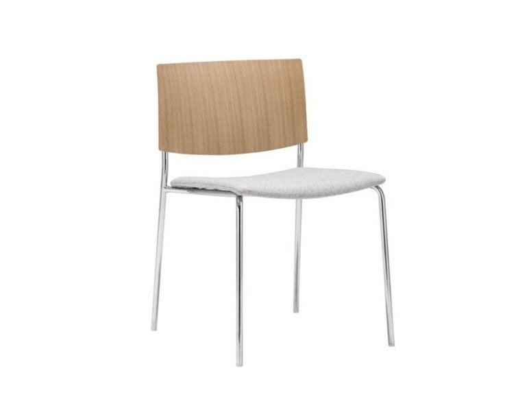 Stackable oak chair with integrated cushion SIT WOOD SI1206 | Chair with integrated cushion by Andreu World