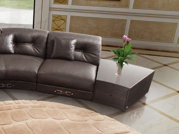 Low leather coffee table for living room SITTING BLA | Coffee table by Formitalia