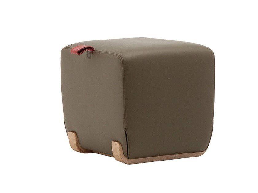 Upholstered leather pouf SKID 09 by Very Wood