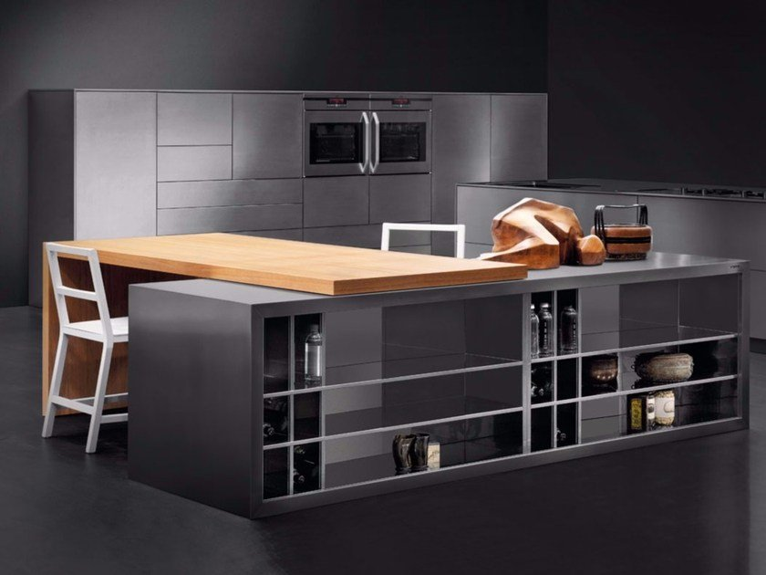 steel kitchen with island SKIN INOX SCOTCH-BRITE By Xera by Arex