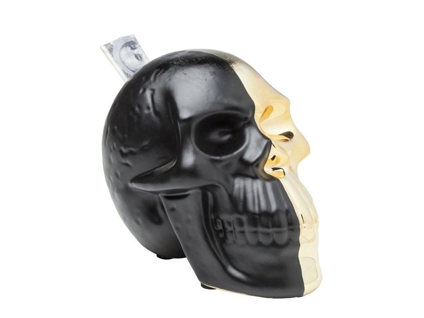 Salvadanaio in ceramica SKULL GOLD-BLACK by KARE-DESIGN