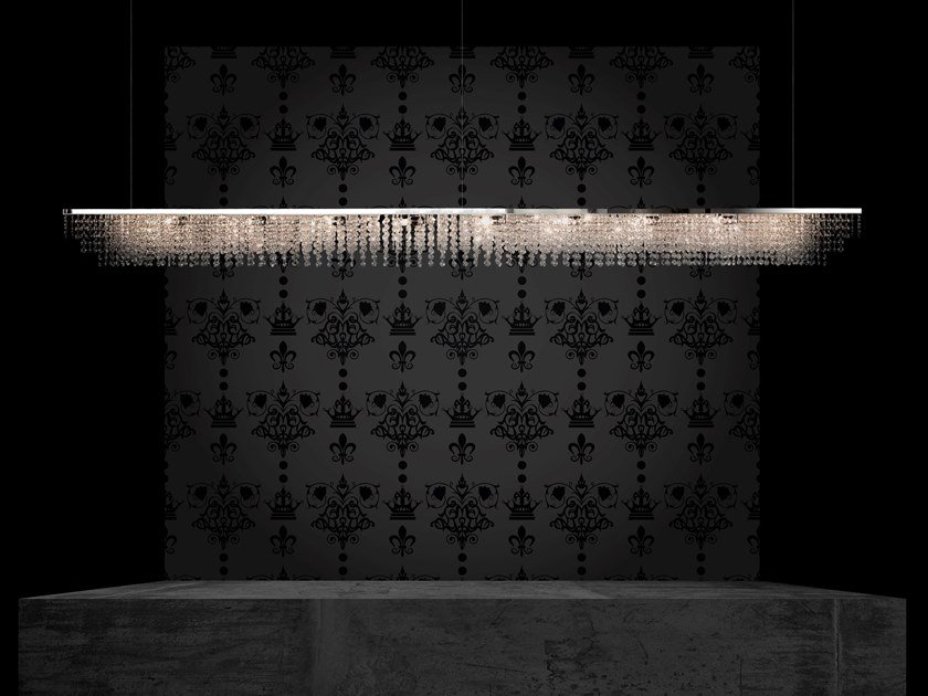 Metal pendant lamp with crystals SKY CYCLES LINE H12 by ILFARI