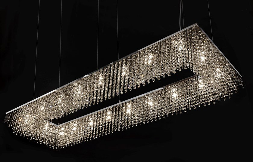 Metal pendant lamp with crystals sky cycles rectangle h16 by ilfari