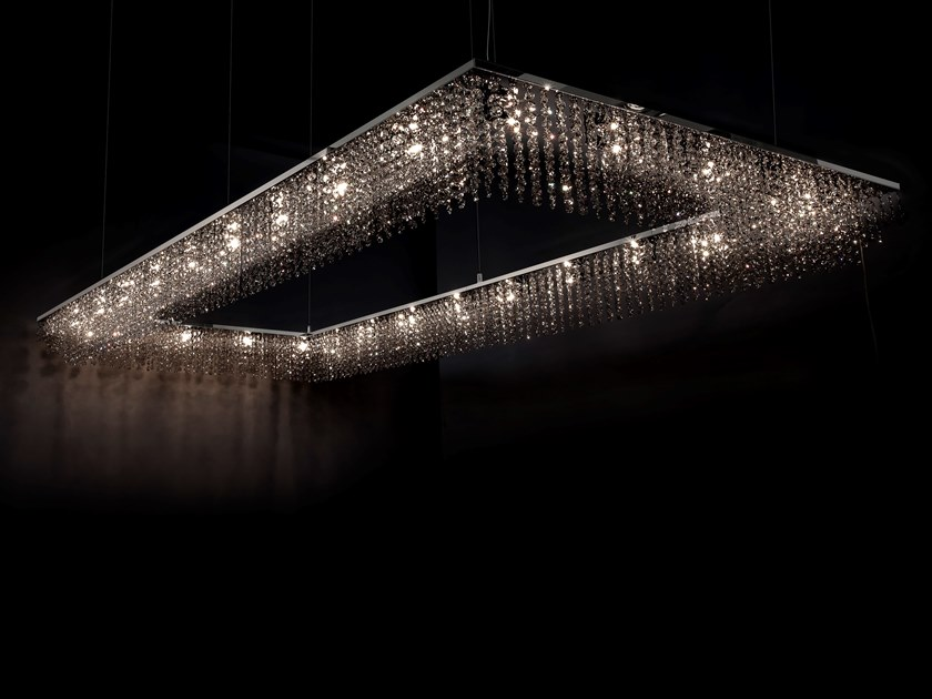 Direct light metal pendant lamp with crystals SKY CYCLES RECTANGLE H26 by ILFARI