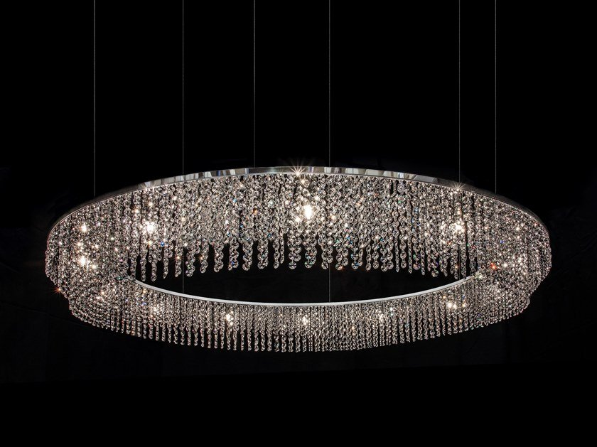 Direct light metal pendant lamp with crystals SKY CYCLES ROUND H17 by ILFARI