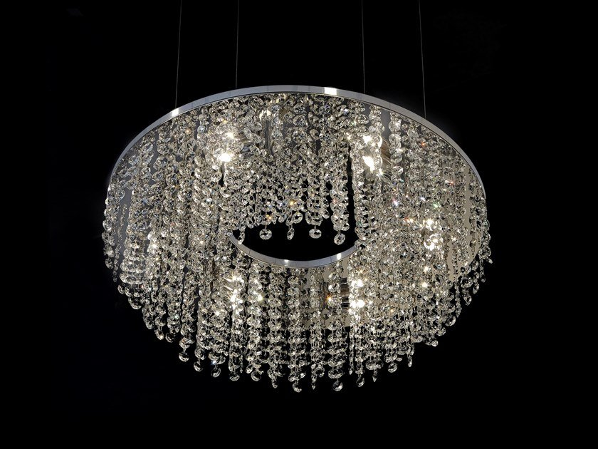 Metal pendant lamp with crystals SKY CYCLES ROUND H6 by ILFARI