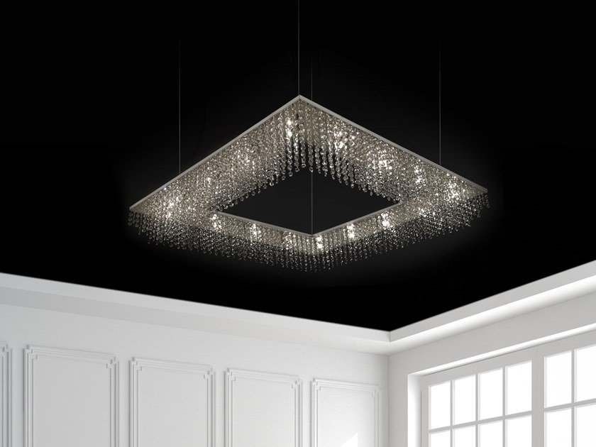 Metal pendant lamp with crystals SKY CYCLES SQUARE H16 by ILFARI