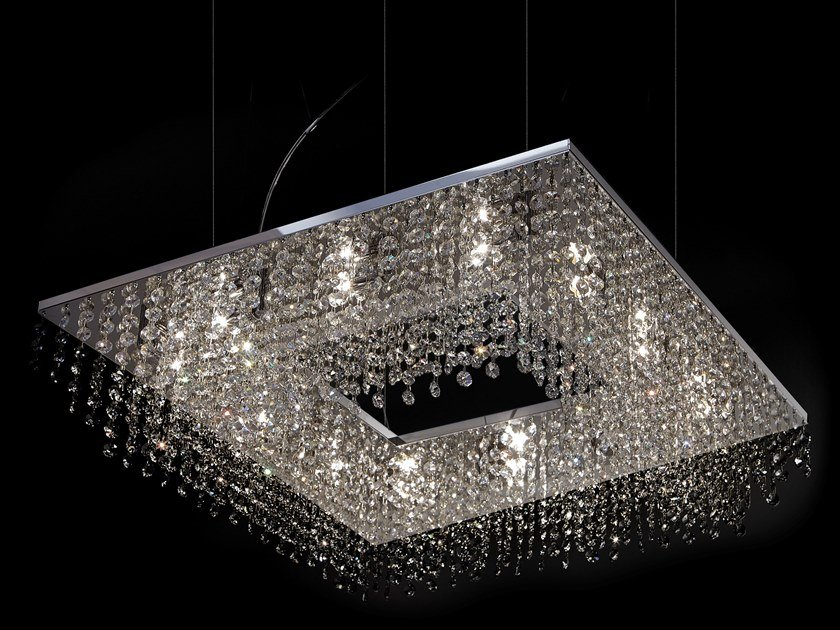 Metal pendant lamp with crystals SKY CYCLES SQUARE H8 by ILFARI