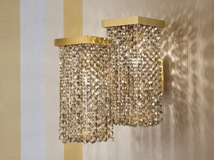 Direct light metal wall lamp with crystals SKYLINE A2 by Masiero