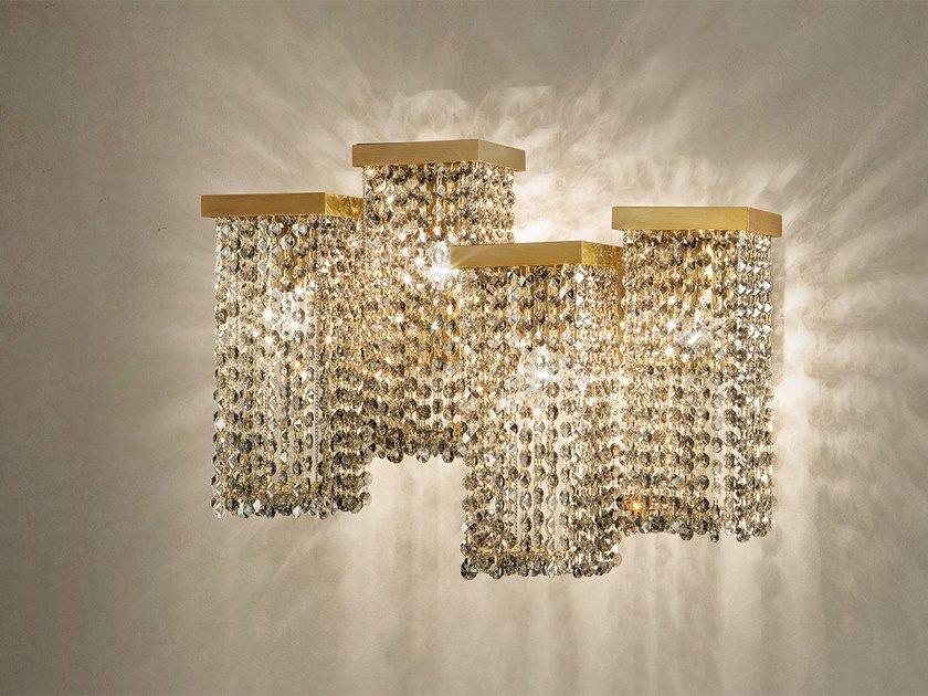 Direct light metal wall lamp with crystals SKYLINE A4 by Masiero