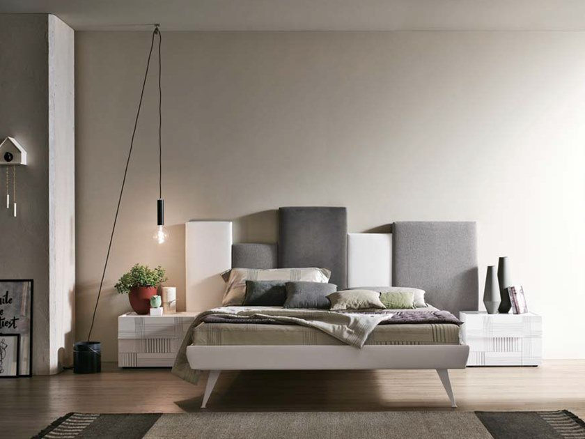 Fabric double bed with upholstered headboard SKYLINE   Bed with upholstered headboard by Gruppo Tomasella