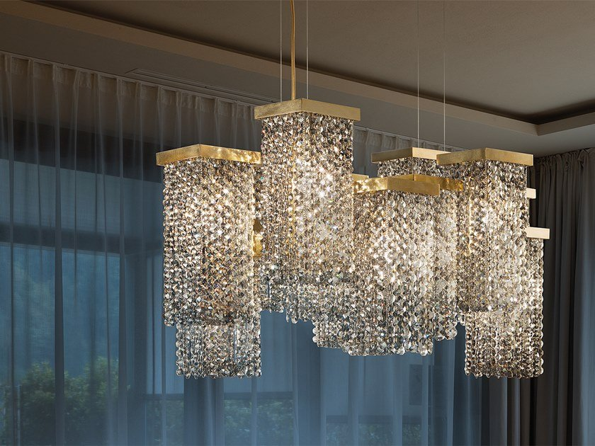 Contemporary style direct light metal pendant lamp with crystals SKYLINE S12 by Masiero