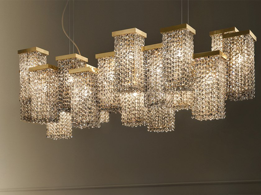 Contemporary style direct light metal pendant lamp with crystals SKYLINE S20 by Masiero
