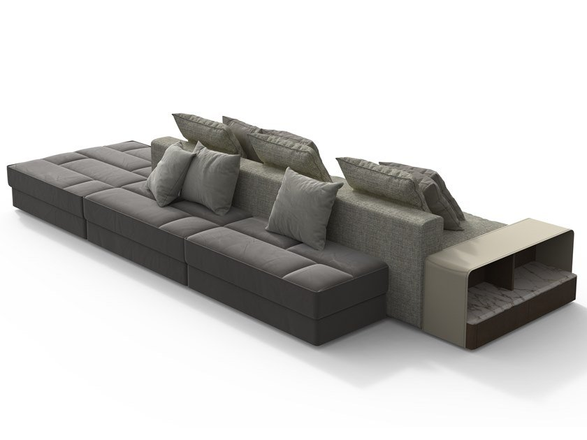 Sectional fabric sofa with integrated magazine rack SKYLINE | Sofa by GIORGETTI